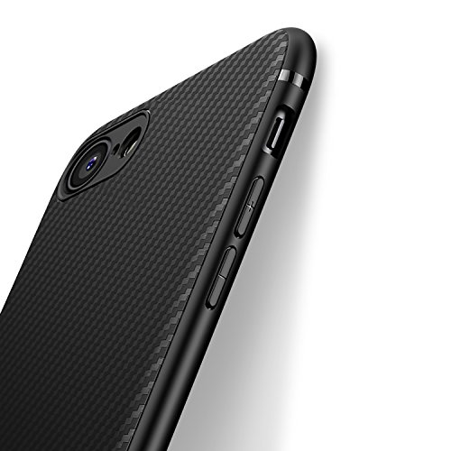 Carbon Fiber Hard Case - iPhone 7 Case iPhone 8 Case, iCOCEN [Carbon Fiber Texture Design] Durable Light Shockproof Cover Slim Fit Shell Soft TPU Silicone Gel Bumper Case for iPhone 7 (2016) / iPhone 8 (2017) 4.7 inch - Black