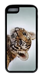 cover funny Tiger Cub TPU Black Case for iphone 5C