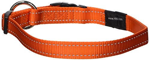 ROGZ Reflective Dog Collar for Large Dogs, Adjustable from 13-22 inches, Orange