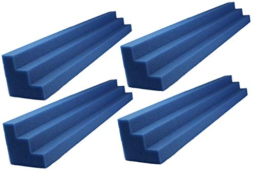 Foamily Blue XL Column Acoustic Wedge Studio Foam Corner Block Finish Corner Wall in Studios or Home Theater (4 Pack)