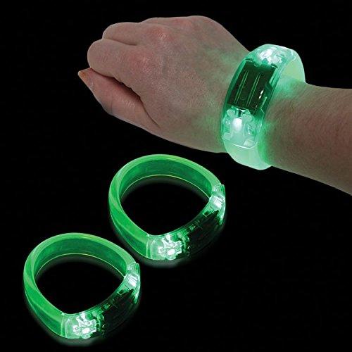 12 PC Green LED Sound Activated Bangle Bracelets Wristbands