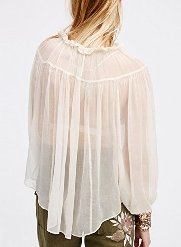 Azbro Mujer Moda Blusa Escarpada Diseño Suelto con Mangas Largas Blanco