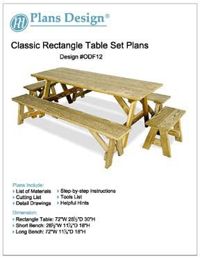 Classic Rectangle Picnic Table /w Benches Woodworking Plans, #ODF12