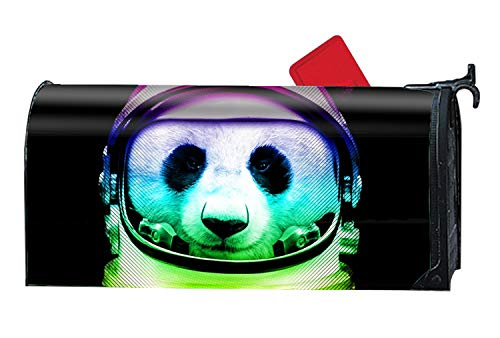 BABBY Space Suit Panda Color Magnetic Mailbox Cover - America Themed, Decorative Vintage Vinyl Mailbox Wrap for Standard Size -