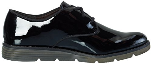 s.Oliver 23601, Zapatos de Cordones Oxford para Mujer Negro (BLACK PATENT 18)