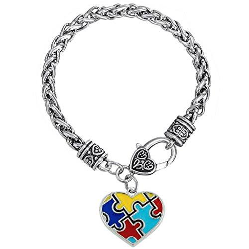 LovelyJewelry Heart Autism Awareness Puzzle Jigsaw Charm Bracelet -