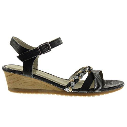 Angkorly - Chaussure Mode Sandale Mule femme lanière tréssé brillant Talon compensé 5 CM - Noir