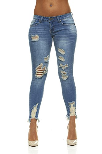 Ripped Jeans For Women Distressed Skinny Jeans For Women With Lift Band Junior Size 7 Classic Blue - Junior 7 Size