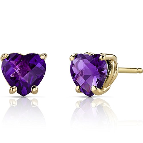 14K Yellow Gold Heart Shape 1.50 Carats Amethyst Stud Earrings
