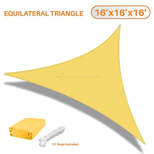 Sunshades Depot 16 x16 x16 Equilateral Triangle Waterproof Knitted Shade Sail Curved Edge Yellow 220 GSM UV Block Shade Fabric Pergola Carport Awning Canopy Replacement Awning