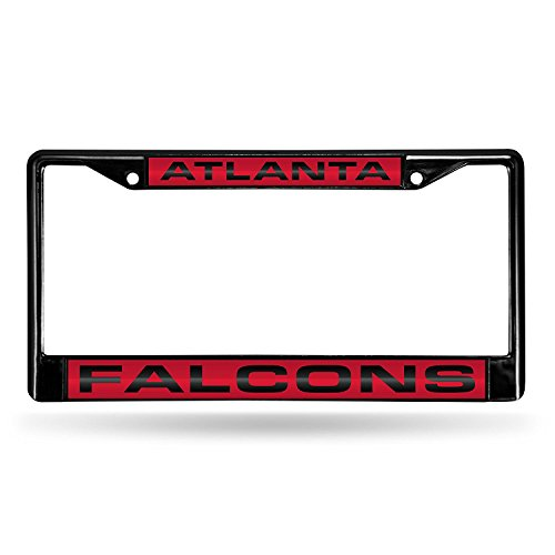 Rico Industries NFL Atlanta Falcons Laser Cut Inlaid Standard Chrome License Plate Frame, Black ()
