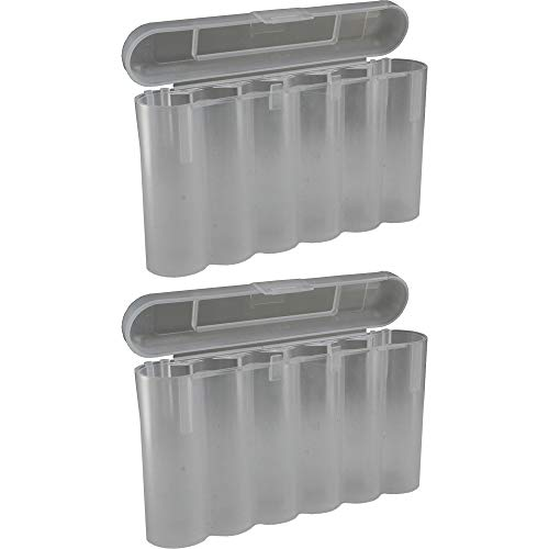 2 Clear 18650 & CR123A 6 Battery Holder Storage Case for 18650 Batteries