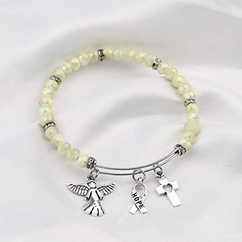 FEELMEM Cancer Survivor Bracelet Cancer Awareness Bracelet Inspirational Jewelry for Cancer Survivor or Patient