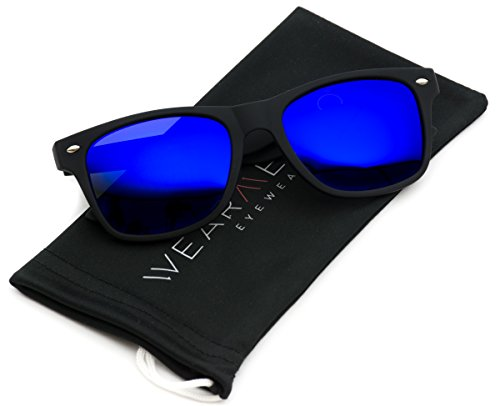 WearMe Pro - Premium Polarized Wayfarer Style Glasses Matte Frame Mirrored Lens - Finish Matte Sunglass Lenses