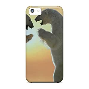 Ultra Slim Fit Hard OscarAPaz Case Cover Specially Made For Iphone 5c- Polar Bears Friendship