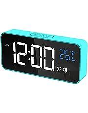 CHEREEKI Väckarklocka, Digital Klocka med Temperaturdisplay, Snooze, Batteridriven och USB-laddning med Dubbla Larm för Sovrum, Säng, Kontor Och Resor