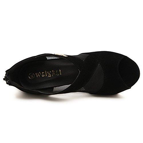 Womens Zipper AmoonyFashion Spikes Sandals Black Solid Frosted Stilettos Toe Peep dYwq7wA