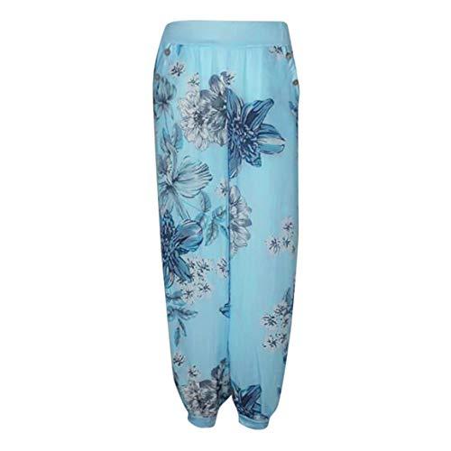 Bleu Dames Casual Large De Longs Ciel Pantalons Poche 2018 Bouton De Bellelove Danse Imprim Loose Pantalons Yoga Large Mode Vintage Femmes Sarouel Pantalon qXtxwx17gz