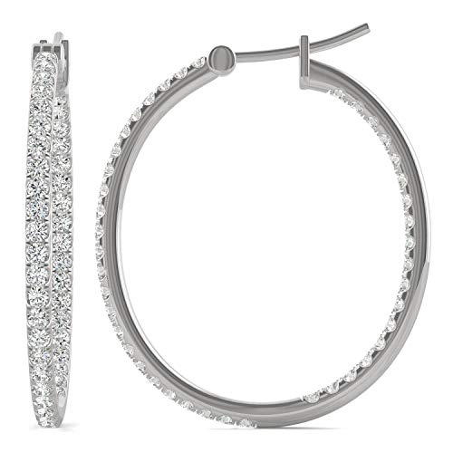 14K White Gold Moissanite by Charles & Colvard 1.4mm Round Hoop Earrings, 1.09cttw DEW