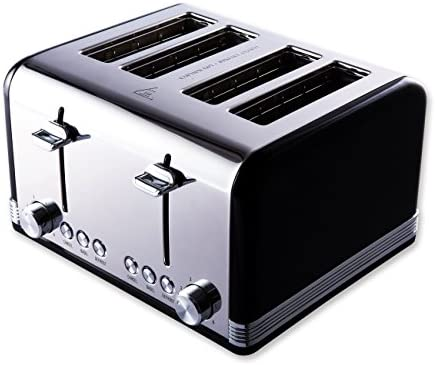 Gohyo toaster 4 slice 100% Stainless Steel with Wide Slots & Removable Crumb Tray for Bread & Bagels(4 Slice,Black)