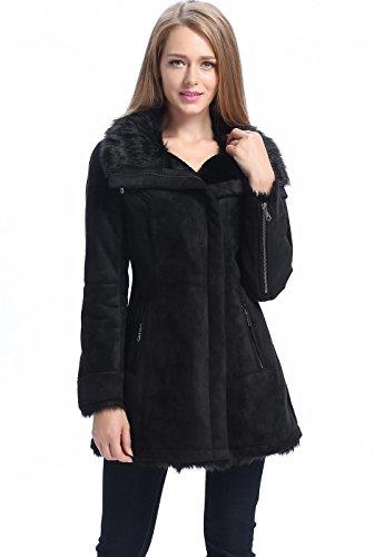 BGSD Women's Zara Zip Front Faux Shearling Coat - L (Faux Shearling Womens Coats)