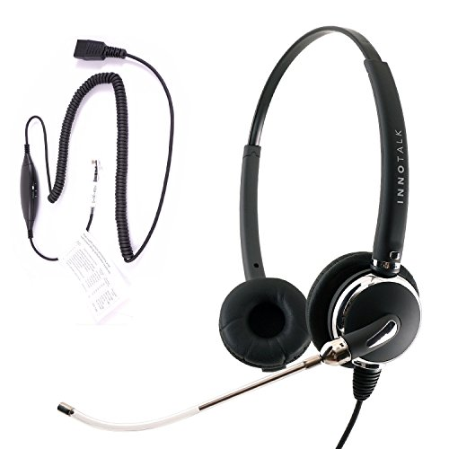 RJ9 Headset - Professional Voice Tube Mic Headset + Universal Compatiblity RJ9 Headset Quick Disconnect Adapter for Cisco Avaya NEC Nortel ATT Any RJ9 jack