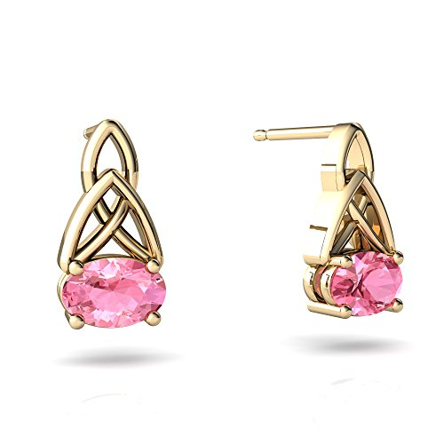 6x4mm Oval Pink Sapphire Earring - 8