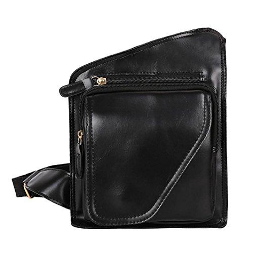 Logobeing Leather Man Bag Shoulder Bag Small Chest Synthetic Leather Messenger Bag Shoulder Black Knights