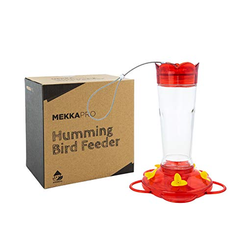 MEKKAPRO 10 Oz Outdoor Hummingbird Feeder Made from Glass, Hanging 5 Nectar Feeding Stations, Bright Red