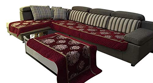 Quilted Chenille Custom Sectional Sofa Throw Pads Furniture Protector Sold Separately (Wine, 35x70)