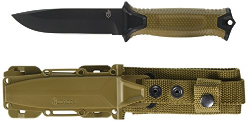 Gerber StrongArm 420 High Carbon Stainless Steel Fixed Blade Full Tang Knife with Molle Compatible Multi-Mount Sheath - Fine Edge - Coyote Brown (30-001058)