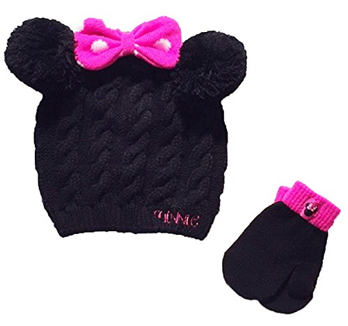 rls Toddler Winter Hat & Mitten Set, Black/Pink ()