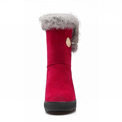 Latasa Moda Donna Carino Nubuck Speciale Fibbia Faux Fodera In Pelliccia Piattaforma Tacco Medio Corta Scarponi Invernali Rosso