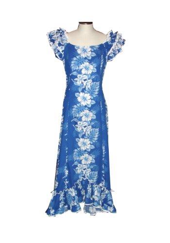 PANEL FLOWERS HAWAIIAN RUFFLE LONG MUUMUUS DRESS