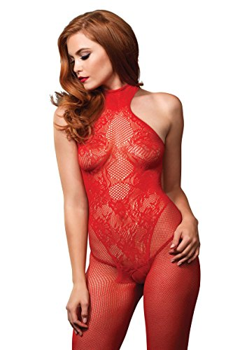 (Leg Avenue Fishnet Halter Bodystocking with Lace)
