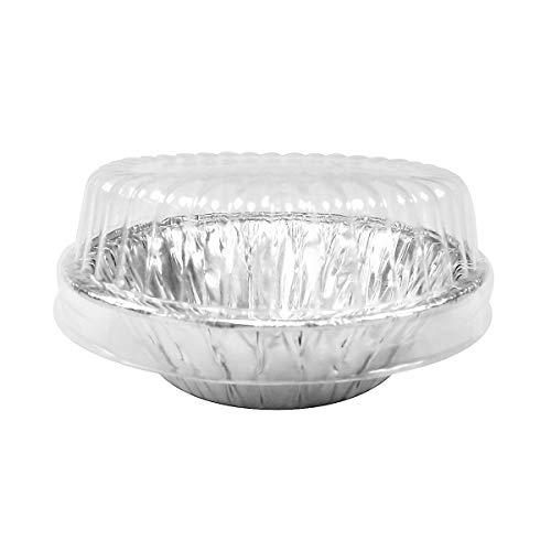 3-3/8 inch Aluminum Foil Tart / Mini-Pie Pan w/Clear Plastic Dome Lids - Disposable