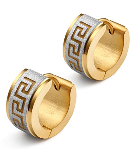Jstyle Jewelry Stainless Steel Hoop Earrings for Men Women Huggie Earrings Unique Greek Key Yellow