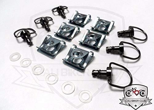 - CaliBikerClub Black Chrome Race Fasteners 1/4 Turn Quick Release 6 Pack Dzus Panex D-Ring Length 17mm