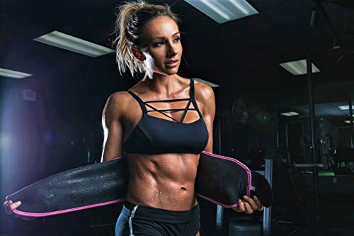 "Sweet Sweat Premium Waist Trimmer para hombres y mujeres. Incluye una muestra gratis de Sweet Sweat Workout Enhancer, Grande: 9 ""Ancho X 46"" de Largo, Rosado"