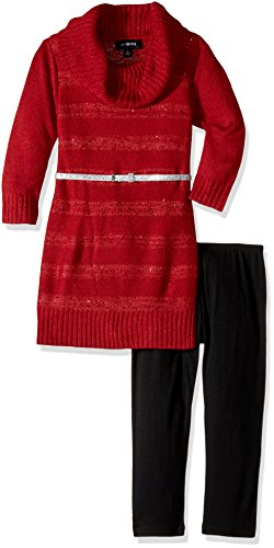 Amy Byer Big Girls' 3/4 Sleeve Sequin Stripe Cowl Set, Red, M