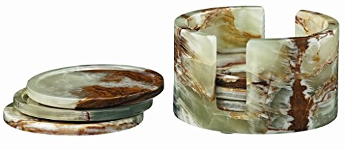 Set of 6 Round Coasters w/Caddy Whirl Green Onyx ()