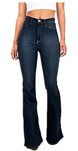 Flared Jeans Cut Pants - GALMINT Women's Juniors Bell Bottom High Waisted Fitted Plus Size Flared Denim Jeans Pants US 2 Blue
