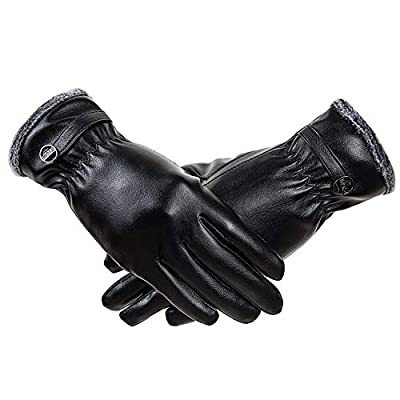RYOMI Winter Leather Gloves for Women, Super Soft Coral Fleece Lined Warm Gloves