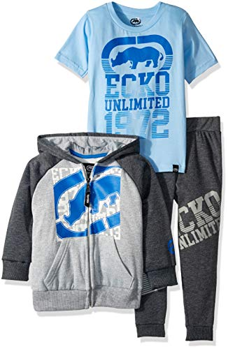 Ecko Boys' Little 3 Piece Hoodie, T-Shirt, and Jogger Set, Dark Heather Grey, 7 -