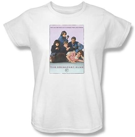 The Breakfast Club Ladies T-shirt Movie BC Poster White Tee Shirt , XL - Club Ladies Tee
