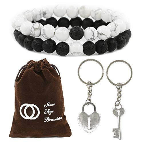 Gifts Couples Bracelets and Keychains for Men Women his Hers Wife Husband King Queen Long Distance Relationships Cute Matching Beaded BFF Stuff Bond llaveros (Without Crowns) ()