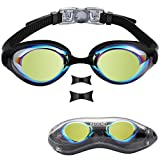 Aegend Swim Goggles, Swimming Goggles of Flat Lens for Men Women Adult Youth Kids Children, Anti-Fog UV Protection Leak-Proof Triathlon Swim Goggles with Protection Case, Mirrored