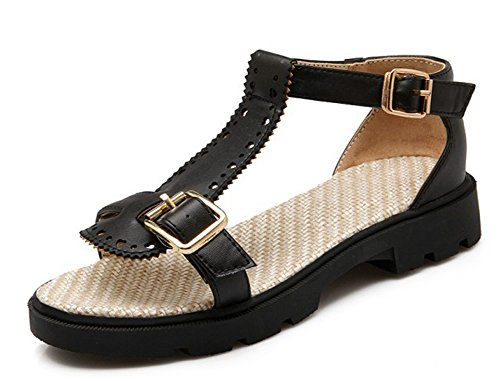 Sandals Hollow Buckle Out Low Black Aisun Chunky Heels Women's Comfy q8PnF6
