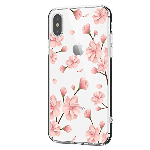 Case Compatible with iPhone Xs, Apple iPhone Xs Max Case Slim Clear Flower TPU Silicone Bumper Cases for iPhone Xr
