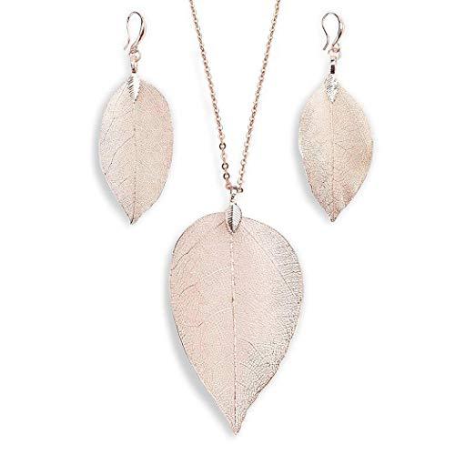 Adoeve Women Fashion Leaf Pendant Pendant Necklace Drop Earrings Set Gifts Jewelry Sets
